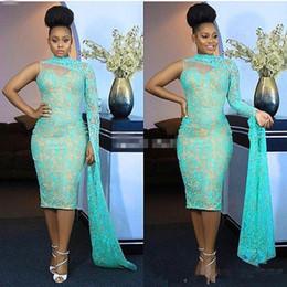 Um ombro chá comprimento vestidos on-line-Nigéria Estilo 2018 Um Ombro Vestidos de Noite de Alta Neck Lace Tea Comprimento Sereia Formais Vestidos de Baile Aso Ebi Estilo Vestido De Festa