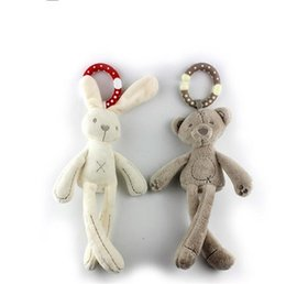 Wholesale baby doll toy crib - Lovely Plush Rabbit Bear Doll Creative Baby Crib Stroller Hanging Ring Infant Kid Pram Mobile Bed Appease Intelligence Windbell Toy Gift 6 8