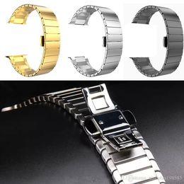 2019 links de ajuste Faixa de relógio de aço inoxidável para a apple watch 38 / 42mm apto para a série 1 2 3 ligação pulseira da borboleta fivela smart watch pulseiras bandas pulseiras links de ajuste barato