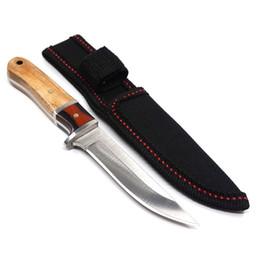 diseños de cuchillas de hoja fija Rebajas Nuevo Diseño 5CR13MOV Cuchillo de Caza Fijo de Acero con Mango de Madera Al Aire Libre Pequeños Cuchillos Rectos Herramientas de Supervivencia de Camping
