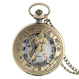 Wholesale American Pocket Watch - Fashion New 12 Constellation Hollow Aquarius Pocket Watch Retro Old American Flip Cover Children Students Hanging Pendant Quartz Watch Gift