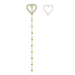 Wholesale Indian Beaded Earrings - Gold Golor Unique Tiny CZ Paved Heart Stud Earrings With Long Plastic Pearls Beaded Chains Wedding Earrings For Women