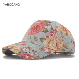 Wholesale girl funky - Funky Junque Womens Floral Daisy Peony Flower Print Baseball Cap Fashion Hat For Girls Breathable Mesh Hat Gorras Summer Cap