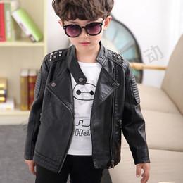 Chaqueta de cuero de los muchachos negro online-New Boys Jacket Leather High Quality Black Boys Abrigos Niños Chaquetas Niños Chaqueta