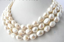 Wholesale Long Baroque Freshwater Pearl Necklace - 50''Long 9-10mm White Baroque Freshwater Pearl Necklaces
