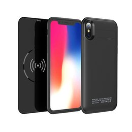 Wholesale mah external battery pack - 2 In 1 Smart Battery Case Cover 5000 mAh External Battery Pack Wireless Charger Power Bank QI Charging Pad For iPhone X 8 8Plus