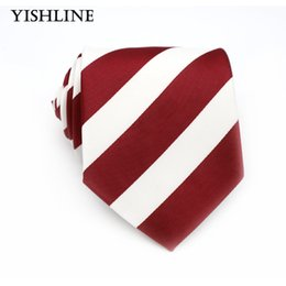 Wholesale Silk Neck Ties Xl - XT066 Men Ties 8CM Dark Red White Striped 100% Silk Necktie Mens Business Wedding Male Legame England Jacquard Woven Neck Tie