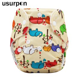 Wholesale Nappies Patterned - [usurpon] 1 pc 0-3months Newborn diaper with printed animals pattern and reusable baby nappies organic baby diaper