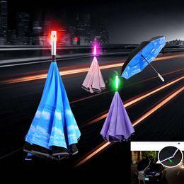 Wholesale Led Flash Cases - Led Inverted Umbrella Reverse Folding Car Umbrella With SOS Warning Flash With Umbrella Cover Case WX9-297