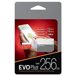 Blisterpackungen online-2020 Schwarz EVO Plus + 100 MB / s 95 MB / s 32 GB 64 GB 128 GB 256 GB C10 TF Flash-Speicherkarte Klasse 10 Freier SD-Adapter Einzelhandels-Blister U1 U2 U3