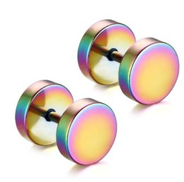 Wholesale Barbell Earrings - 1Pair Punk Double Sided Round Titanium Steel Earrings Men Women Blue Gold-color Fake Ear Plugs Gothic Barbell Stud Earring