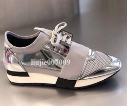 shine sneakers Promo Codes - Double Box Race Runner Shoe Man Casual Woman Sneaker Fashion Mixed Colors New Designer Silver Shine Black Mesh Trainer Shoes Size 35-46