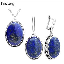 Wholesale Lapis Heart - Oval Natural Lapis Lazuli Jewelry Set Necklace Earrings For Women Antique Silver Plated Stainless Steel Chain Wedding Party Gift