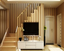 Wholesale vertical striped wallpaper - Beibehang Modern simple flocking non woven wallpaper vertical striped color TV background wall living room bedroom wallpaper