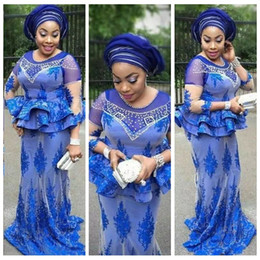 tulle sleeve aso ebi dresses Promo Codes - 2020 Scoop Neck Aso Ebi Style Mother's Dresses African Blue Mermaid Nigerian Lace Appliques Beaded 3 4 Sleeves Evening Party Gown