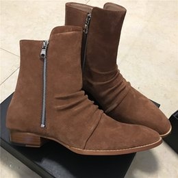 Wholesale Mid C - 2018 New Pleated genuine leather west chelsea boots suede leather high top wyatt boots handmade Quality fishion slp life style harry boots