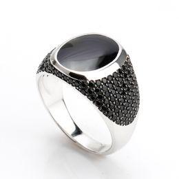 Vintage negro anillos de epoxy para hombre negro piedra de circón joyería de plata única plata de ley 925 para hombre musulmán masculino anillo desde fabricantes