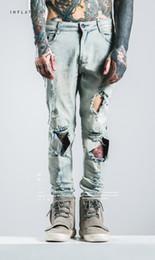 HOMMES Hi-street Ripped Jeans Biker Jean Pantalon Trous Conception D'origine Marque Vêtements Long Pantalon Mâle Vêtements ? partir de fabricateur