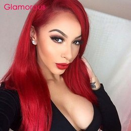Wholesale Cheap Celebrity Lace Wigs - Brazilian Hair Wig cheap Human Hair Lace Wig Celebrity fashion Full Lace Colored Wig Red Human Hair Lace Wigs 12 to 26inch