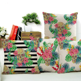 Wholesale Browns Plains Hotel - Tropical Flowers Skull Art Cushion Cover Car Seat Back Pillowcase Hotel Bed Decorative Throw Pillow Case Cushion Cover