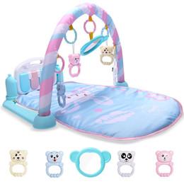 Spielzeugrahmen online-Entwicklungsmatte für Neugeborene scherzt Playmat-Baby-Gymnastik-Spielwaren pädagogische musikalische Wolldecken mit dem Tastatur-Rahmen, der Rattles-Spiegel hockt