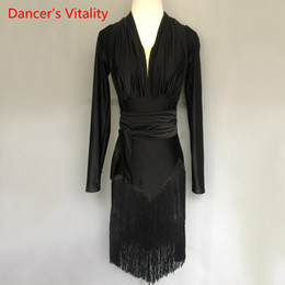 2021 женские латинские платья Adult/Kids Latin Dance Dress Performance Clothes Long Sleeves Tassel Dresses Women Girls Latin Dance Competition Costume