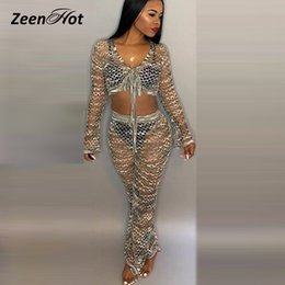 5293cd46 Sexy Hollow Out Wide-Leg Pants Jumpsuit V Neck Long Sleeve Nightclub Rompers  Playsuit Women Mesh Overalls Jumpsuits Bodycon