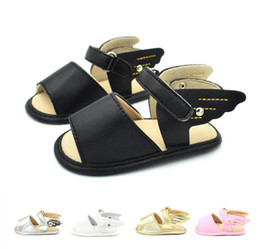 Wholesale Kids Shoe Wings Wholesale - Baby sandals fashion kids angel wings slipper summer new infant soft bottom non-slip toddler shoes fit 0-1T baby girls first walker Y4377