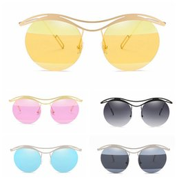 Yeni lüks yarım kaş metal güneş gözlüğü Moda Retro Yuvarlak lens Paslanmaz Çelik çerçevesiz Güneş Gözlüğü Açık Gözlük 10 adet LJJG36 cheap sunglasses eyebrow nereden güneş gözlüğü kaş tedarikçiler