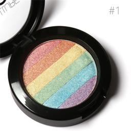 Радужный ярлык онлайн-FOCALLURE Pro DIY Rainbow Highlighter Пудровая палитра Bronzer Contour Мягкая минеральная палитра для макияжа с макияжем для лица