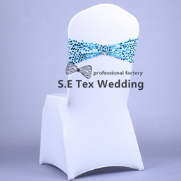 Wholesale good quality chairs - Good Quality Back Sequin Lycra Chair Band \ Spandex Chair Sash With Buckle For Chair Cover Decoration Free Shipping