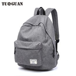 Wholesale Travel Back Bags For Men - TUGUAN Canvas Men Women Backpack Student School Bags for Teenager Girls Boy Travel Back Pack Rucksack Bagpack Schoolbag Female