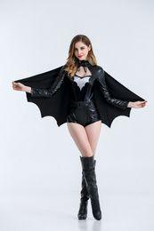 Disfraz de cosplay de Halloween chica Disfraz de disfraz de Batman Super hero League Justice traje de cosplay mono negro + capa + cinturón desde fabricantes