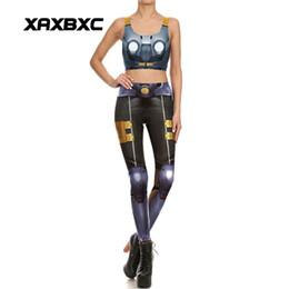 Wholesale Armor Vests - XAXBXC 1667 Sexy Girl Sport Suit Set Droid Armor Mecha Prints Yoga Leggings Pants Crop Top Vest GYM Fitness Women Yoga Sets