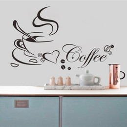 Wholesale Wall Quotes For Kitchen - Coffee Cup With Heart Vinyl Quote Restaurant Kitchen Removable Wall Stickers DIY Home Decor Wall Art Free Shipping