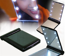 Wholesale Mini Mirror Frame - Portable Led Makeup Mirror Lady Makeup Cosmetic Folding Compact Pocket Mirror 8 LED Lights Lamps mini double side comestic Mirror DHL Free