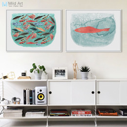 Wholesale Framed Fish Pictures - Watercolor Sea Fish Tank Art Prints Poster Cartoon Animal Living Room Wall Picture Canvas Painting No Framed Kitchen Home Decor