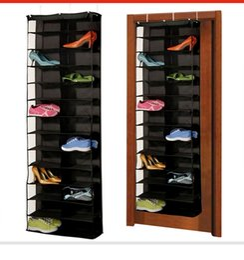 Organização, penduradas, armazenamento, saco on-line-Sapatos Cabide Sacos De Armazenamento 1 Pc 26 pares Sobre A Porta Pendurado Organizador De Armazenamento De Rack De Poupança de Espaço Caixas Organizador Casa