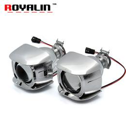 Wholesale motorcycle headlight lenses - ROYALIN Car Style H1 Bi-xenon HID Mini Projector Headlights Lens 1.8 inch for Motorcycle H4 H7 Auto Retrofits Fog Lights DIY
