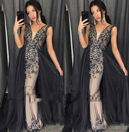 Wholesale Pick Body - Luxury Bling 2018 Prom Dresses Crystal Beading Overskirts Formal Evening Gowns Dubai African Gowns With V Neck Sheath Body Shape