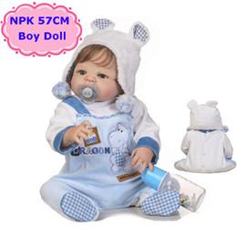 Wholesale Handmade Clothes For Girls - Adorable NPK 57CM Reborn Doll Handmade Full Silicone Bebe Reborn Boy Doll Boneca In Cute Clothes Fashion Baby Dolls For Girls