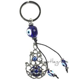 Злобное кольцо для глаз хамсы онлайн-BRISTLEGRASS Turkish Blue Evil Eye Hamsa Hand Flower Keychain Car Key Chain Ring Holder Amulet Pendant Lucky Charm Blessing Gift