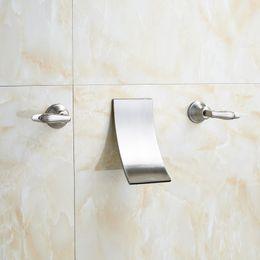 Wholesale Modern Bathroom Faucet Waterfall - Modern Wall Mounted Bathroom Tub Sink Faucet Dual Handle Brushed Nickel Waterfall Basin Mixer Taps
