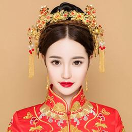 2019 paso de oro Color oro pelo antiguo conjunto de joyas Estilo chino tocado de la princesa tocado nupcial borla Step Shakes ornamento Vintage Hairwear rebajas paso de oro