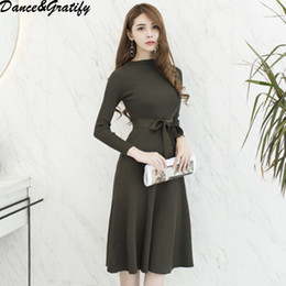d8619c184f1e 2019 strickkleid büro 2018 Herbst Winter Womens Fashion Christmas Party Pullover  Kleider Weibliche Langarm Gestrickte Warm