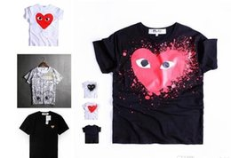 Wholesale Print Multiple - 2018 wholesale red heart, male and female T-shirt tide brand multiple love printing short sleeved couple wear casual t-shirts
