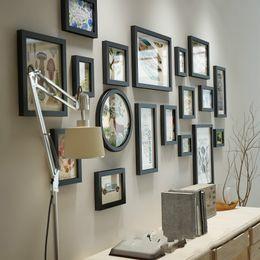 Cadres photo en bois solide bois moderne photos créatives mur photo cadre  combinaison 18 pièce grand format cadres décoration de la maison
