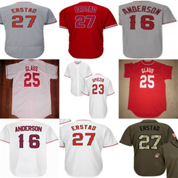 Wholesale Womens 16 - New Los Angeles Mens Womens Kids25 TROY GLAUS 23 SCOTT SPIEZIO 27 DARIN ERSTAD 16 GARRETT ANDERSON Green Red White Grey baseball Jerseys