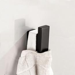 Wholesale towel hanger hook - Electroplated Bathroom Robe Hook SUS 304 Stainless Steel Solid Square Toilet Hat Clothes Towel Hanger Hook Bathroom Accessories
