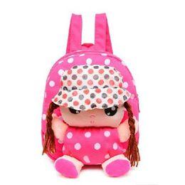 Wholesale little girls baby dolls - Cute dot small girls plush doll backpack Long braids little girls schoolbag children shoulder bag for baby girl wholesale